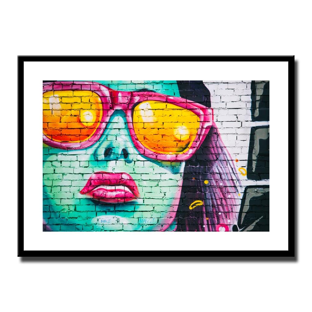 Grafitti art kopen - Kleurrijke Mode Graffiti Straat Sunshine Meisje Schilderen Canvas Wall Art Abstract Voor Woonkamer Interieur Geen Frame