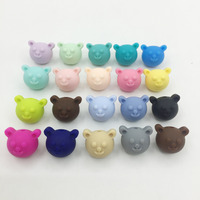 50pieces/lot Bear Silicone Beads Baby Teething Beads 17*15*14.7mm Safe Food Grade Nursing Chewing bear Silicone Beads 19Colors