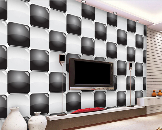 Papier peint stéréo 3D personnalisé, plaid noir et blanc ...