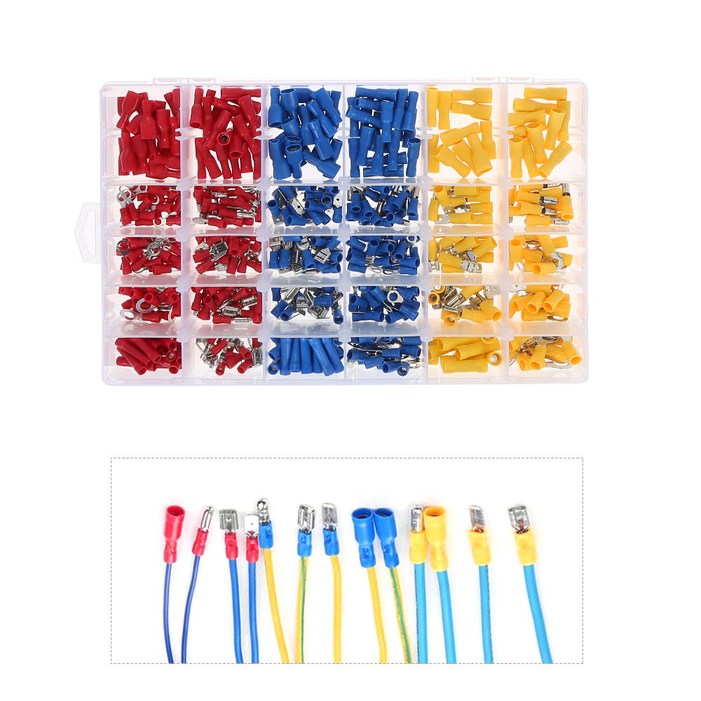 480PCS Assorted Insulated Terminals 13 Kinds Crimp Electrical Wire Cable Connector Kit Butt Spade Ring Fork Set Male Female 1000pcs electrical wire connector insulated crimp terminals kit spade assorted set fork ring assorted set with box