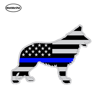 HotMeiNi13x9.1cm Car Styling German Shepard Police K9 Dog Silhouette Car Sticker Gray Subdued Flag Waterproof Bumper Accessories image
