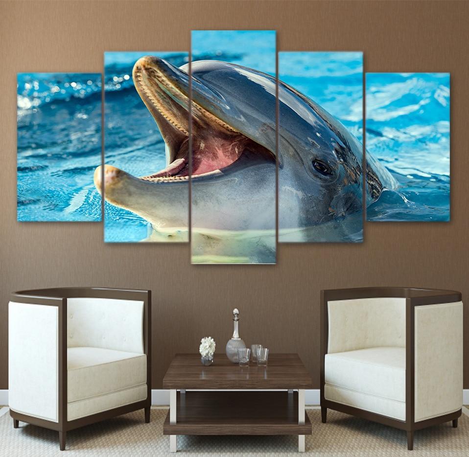 5 панели Unframed милые dophin в море стены Книги по искусству холст Картины для жизни офисные Книги по искусству работы Домашний Декор