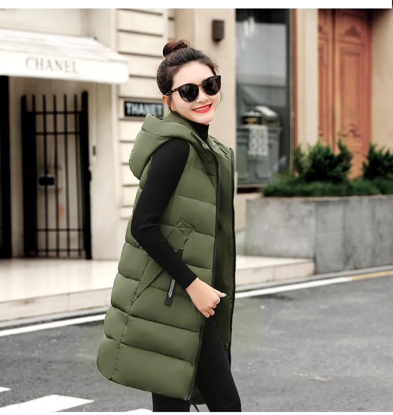 Autumn Winter Women Waistcoat Sleeveless Vest Jacket Hooded Warm Long 38
