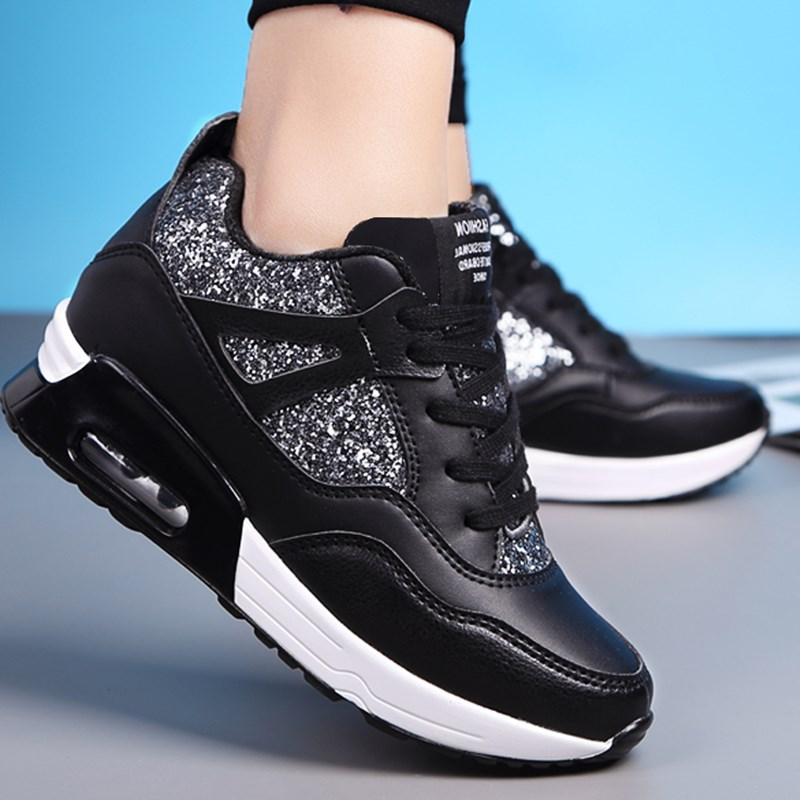 New Autumn 2019 Fashion Height Increasing Women Sneakers Ladies Sequins Lace-up Casual Shoes Breathable Walking Shoes