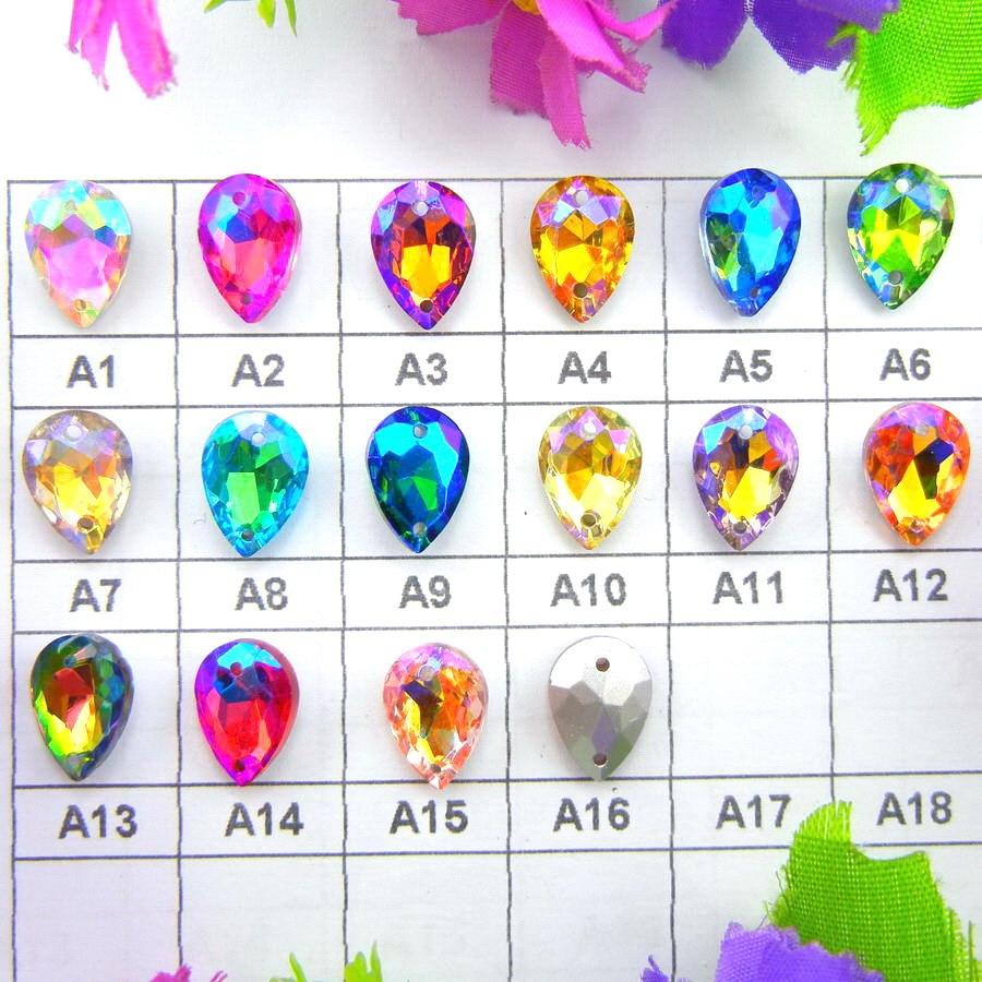 Diamantes de imitación de colores AB con dos agujeros, 7x10mm, 10x14mm, 13x18mm, 18x25, 20x30mm, cristal con forma de lágrima de gota de agua para coser en vestido de novia cristal
