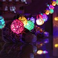 4.8M 20 LED RGB Solar LED Rattan Ball String Fairy Lights For Christmas Wedding Garland Luces decoration Party