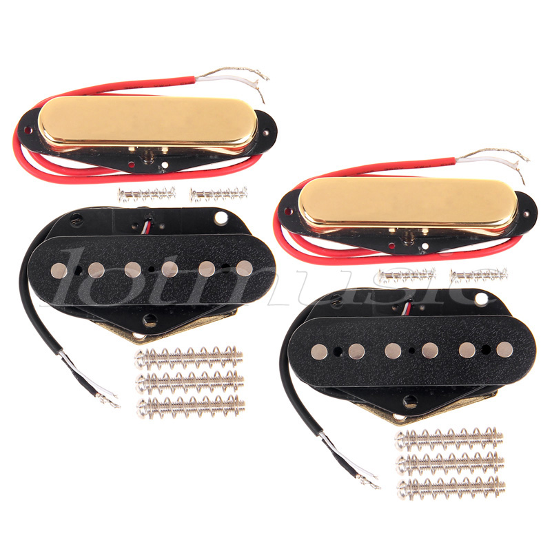 4 Single Coil Guitar Pickup Neck and Bridge Pickup For Fender Tele replacement vintage voice single coil pickups fits for stratocaster ceramic bobbin alnico single coil guitar pickup staggered pole top