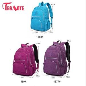 Image 4 - Tegaote 십대 소녀를위한 학교 배낭 mochila feminina 여성 배낭 나일론 방수 캐주얼 노트북 bagpack 여성 sac a do
