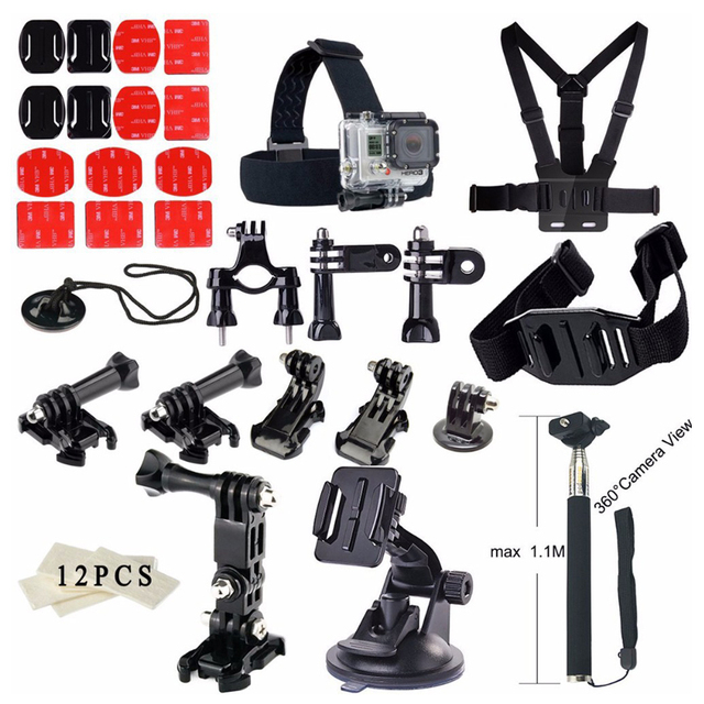 Envío Libre!! accesorios set 36 en 1 correa para el pecho/trípode/monopod para gopro hero 3 3 + 4/sj4000 sj5000/xiaomi yi cámara del deporte