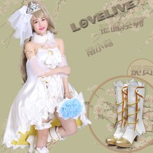 Anime LOVE LIVE Cosplay Minami Kotori Cos partido de Halloween set completo ( vestidos + adornos del cuello + + pierna puños ) Cos vestido de boda del
