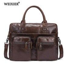 WEIXIER Men Briefcases Genuine Leather Vintage Handbag 15Laptop Briefcase Messenger Shoulder Crossbody Bag Mens Business Bags