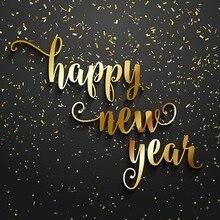 Ouro 3D Feliz Ano Novo Preto Da foto Da Parede do Vinil pano de fundo pano de Alta qualidade partido photo studio Computador impresso fundo
