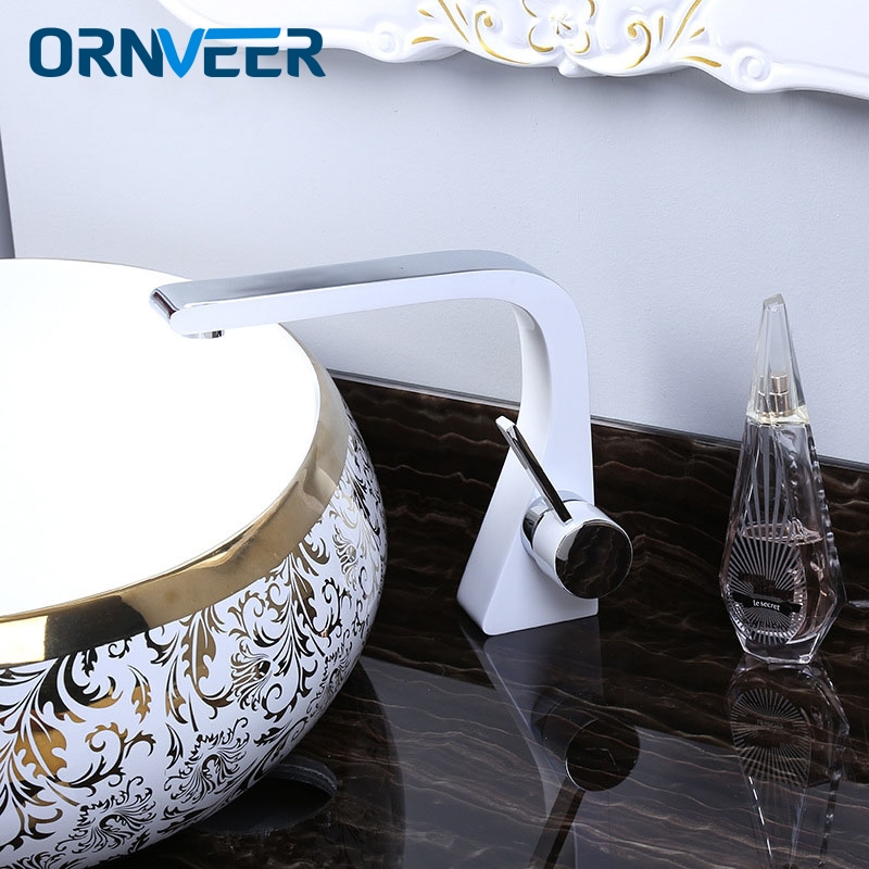 ORNVEER Chrome and white color Faucet Tall Bathroom Basin Faucet Bathroom Basin Mixer Tap with Hot and Cold Sink faucet WG01 new arrival tall bathroom sink faucet mixer cold and hot kitchen tap single hole water tap kitchen faucet torneira cozinha