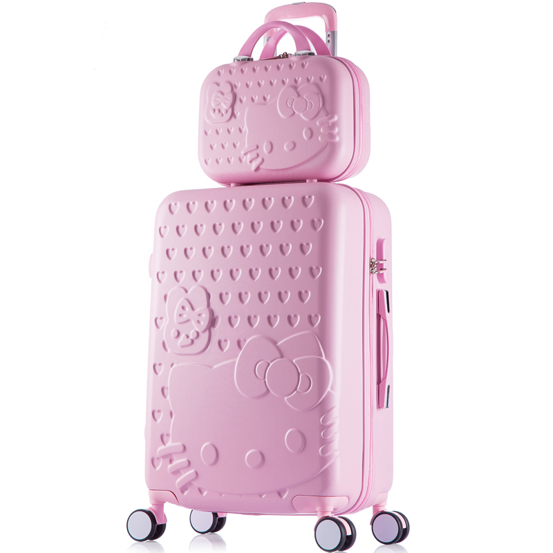 14 26inches abs+pc hardscase hello kitty travel luggage sets on universal wheels,girl pink mint green yellow purple luggage bags mint green casual sleeveless hooded top