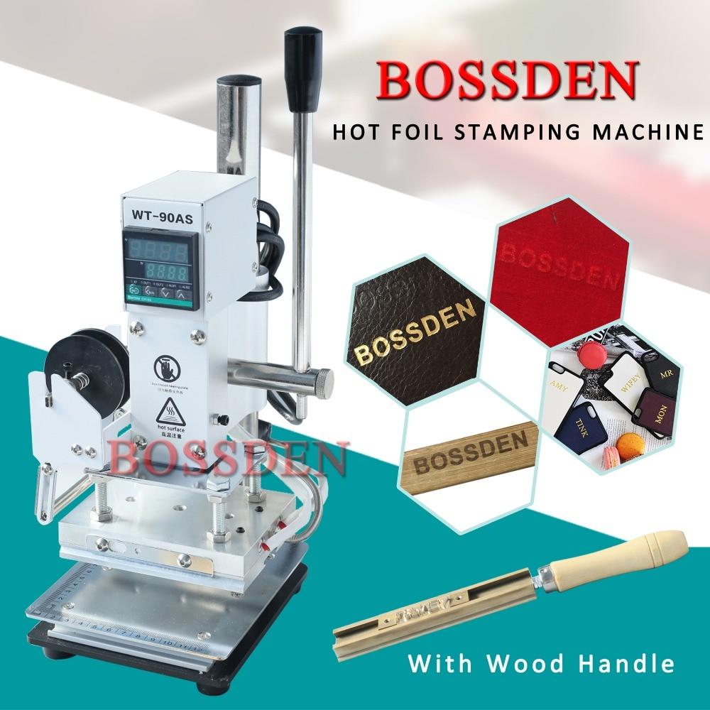 110V Desktop Hot Foil Stamping Machine 10x13cm with Handheld Brass T-Slot for PVC Wood PU Leather Logo Embossing Bronzing