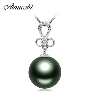 AINUOSHI 925 Sterling Silver Flower Sona Pendants Women Bow Tie 10mm Tahiti Black Pearl Necklace Pendants Round Pearl Jewelry
