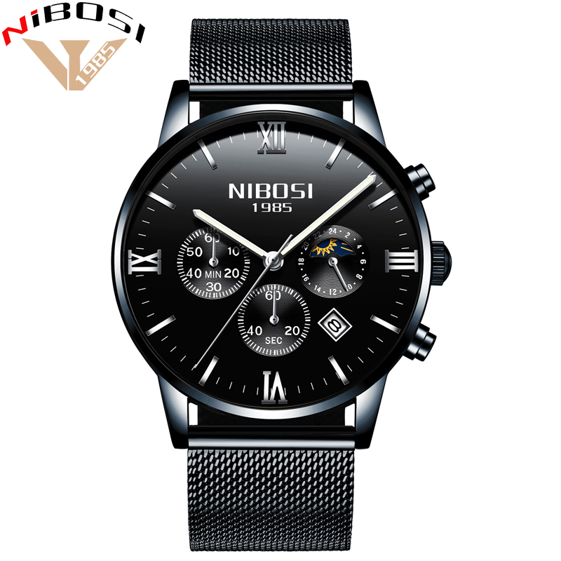 NIBOSI Uhren Herren Wasserdicht Uhr Männer Gold Luxus Marke Uhren Mesh Edelstahl Band Erkek Saatleri Analog Uhren
