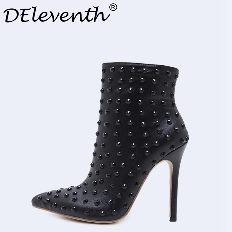 Black Ankle Boots Women High Heels Pointed Toe Sexy Snow Boots Woman Shoes Rivets Zipper Winter Women Boots Botas Mujer US35-40 enmayer shoes woman high heels round toe boots shoe plus size 35 46 ankle boots for women platform shoes rivets charms black