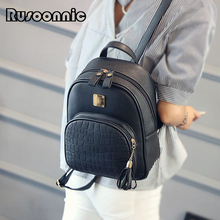Rusoonnic Leather Backpack Women Backpack High Quality Pu Bagpack School Bag Mochila Feminina Alligator