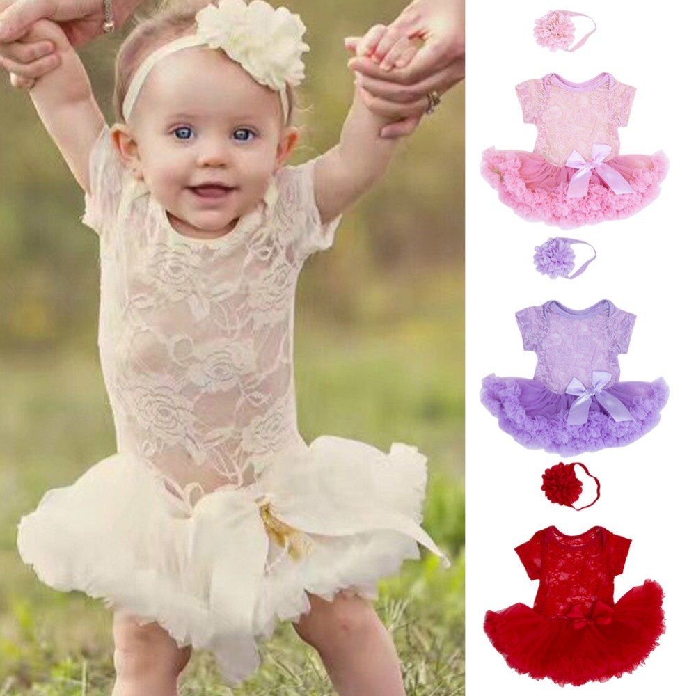 2018 Sweet Baby Gril Short Sleeve Lace Hollow Out Ruffle Tulle Patchwork Ball Gown Bowknot Dress Headband Cute Summer Outfit