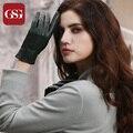 GSG 2016 Marca Nova Luva De Couro Genuíno Para Senhoras Moda Respirável TouchScreen Luvas De Pele De Cordeiro Luvas Femininas Das Mulheres Verdes