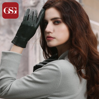 GSG Brand Women Genuine Leather Gloves Fashion TouchScreen Lambskin Two Tone Hole Ladies Driving Gloves Black Green Red Luvas