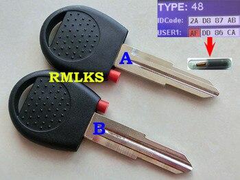 Nuevo transponedor de llave de reemplazo RMLKS llave del coche de encendido sin cortar con Chip hoja sin cortar Chip ID48
