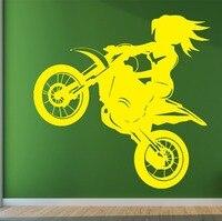 環境保護運動オートバイ女の子ウォールステッカーリビングルーム寝室ホーム装飾芸術壁画ビニール壁デカールY-23