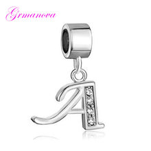 White crystal initial letter A pendant charm beads DIY handmade jewelry amulet Fit Pandora Bracelet Necklace(China)
