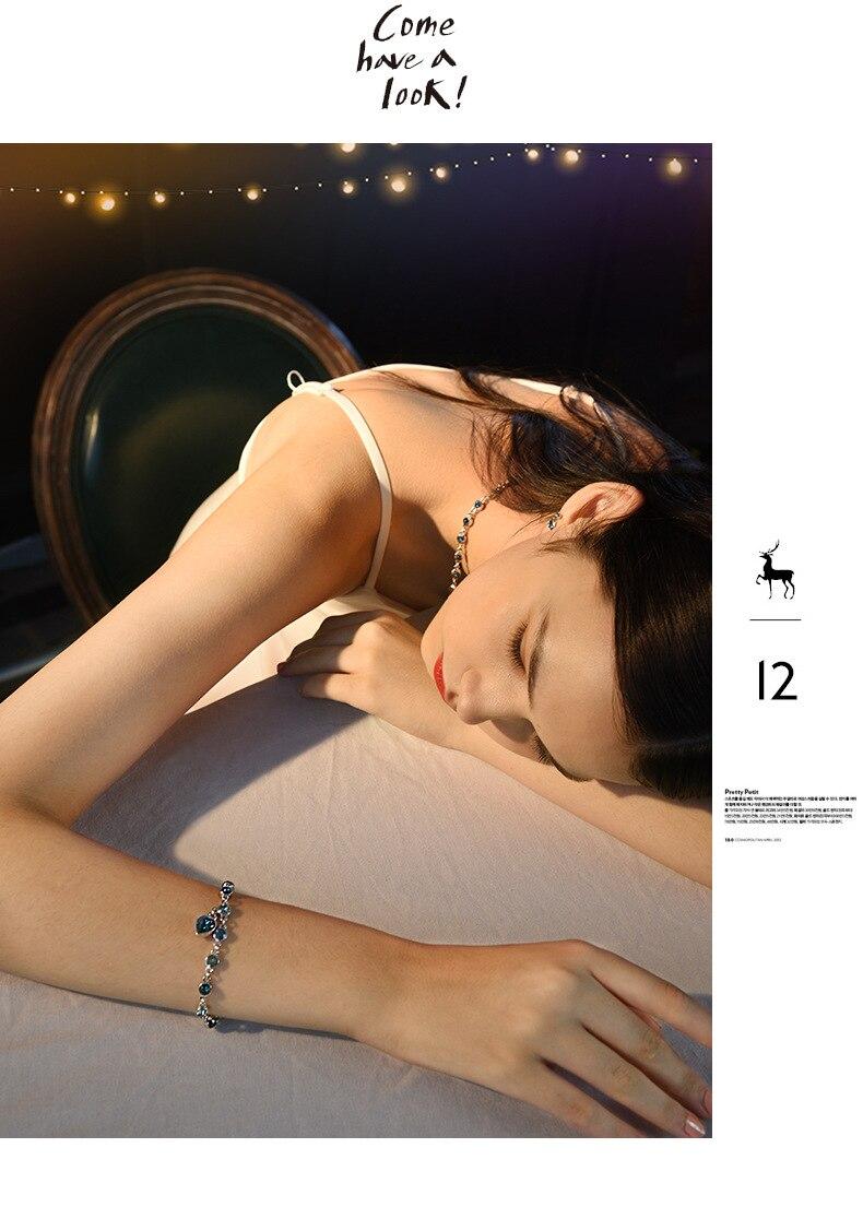 HTB1hGk7mqAoBKNjSZSyq6yHAVXas 925 Sterling Silver Sapphire Bracelet For Women Romantic Heart-shaped Blue jewelry pulseira feminina kehribar bizuteria Bracelet