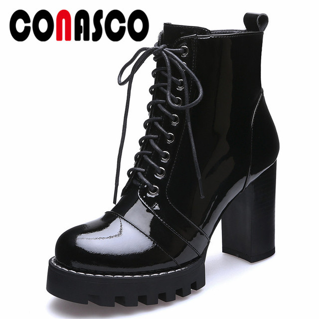 db1f16845d75 CONASCO Women Ankle Boots 2019 Winter Shoes Chunky Heels Women s Boots  Zipper Round Toe Brand Shoes Woman Motorcycle Boots