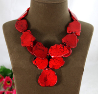 Wedding Woman Gift Necklace Irregular Red Turquoise Slice Choker Necklace Pendant Exaggerated Stone Jewelry Free Shipping