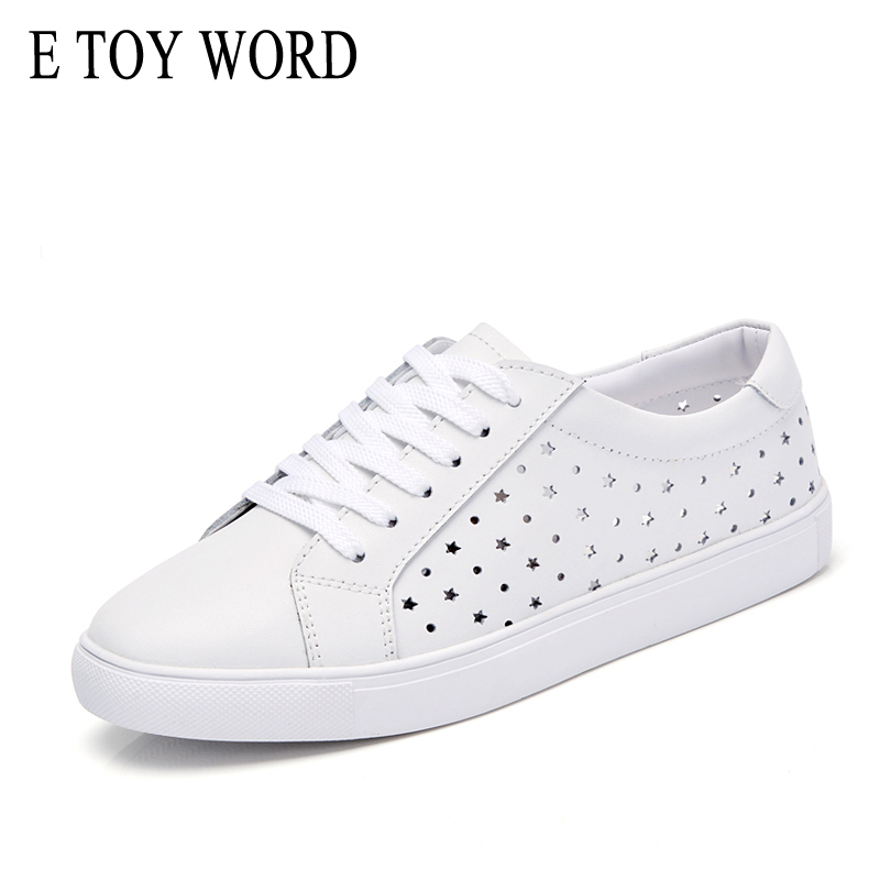 E TOY WORD Hollow out small white shoes female lace up 2018 Spring women casual flat sneakers breathable tenis feminino flats mwy women breathable casual shoes new women s soft soles flat shoes fashion air mesh summer shoes female tenis feminino sneakers