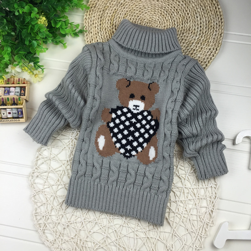 Big Size 2T-7T pullover winter autumn infant baby sweater boy girl child knitted sweater turtleneck sweater children outerwear 4