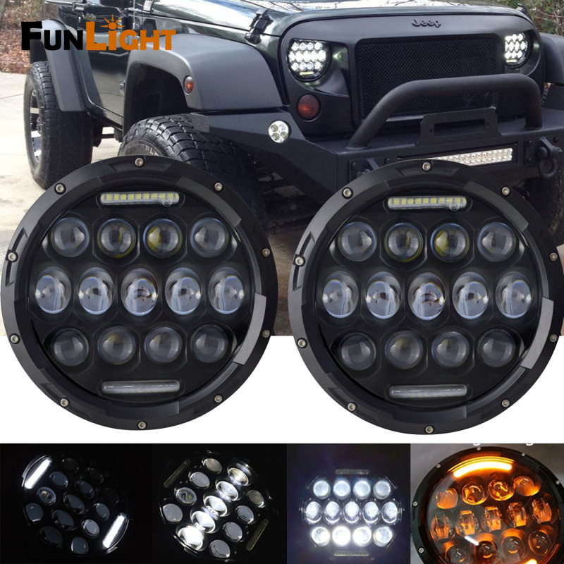Black LED Headlights 7 Inch Round 75W Functional DRL High Low Beam + Amber Turn Signal For Jeep Wrangler Jk Tj Fj
