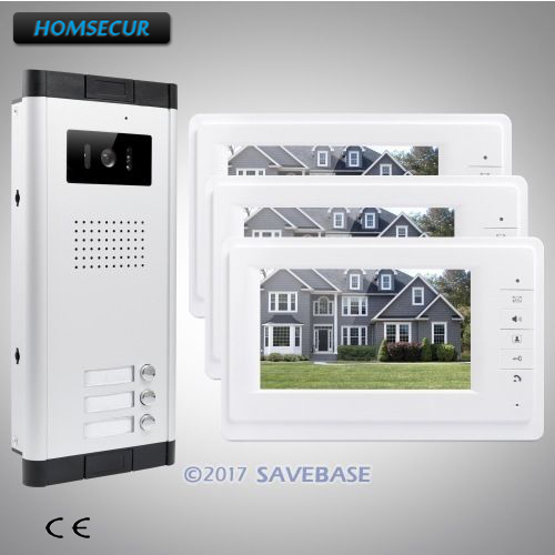 HOMSECUR 7 LCD Video&Audio Door Entry Kit With Night Vision Camera For 3-Apartment