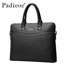 Padieoe Men's New Arrival Business Briefcase Genuine Leather 14 inch Laptop Tote Bag Handbag Famous Brand Messenger Bag For Male