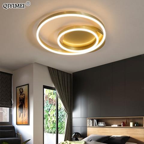 ouro redondo ferro led luzes de teto para sala estar quarto casa interior lustre luminarias