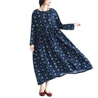 3XL 4XL 5XL 6XL Dress Women Plus Size 2017 Autumn Blue Floral Long Sleeve Maxi Dresses
