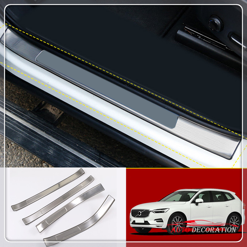 For Volvo XC60 2018 Accessories Car-styling Stainless Steel Outer Door Sill Scuff Guards Protector Cover 4* high quality 304 stainless steel internal external scuff plate door sill for 2017 volvo xc60 car styling