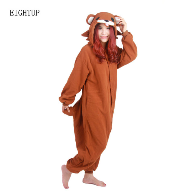 8572d9244e5b Kigurumi New Adult Pijamas Animal Sleepsuit Pajamas Cosplay Costume Pedo  Bear Onesie Brown Pyjamas Jumpsuits Rompers