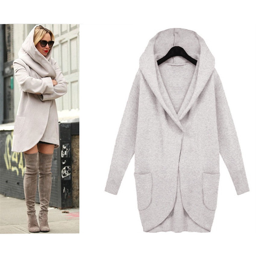 Drop Shipping Fall Winter Coat Women   Trench   Coats Pocket Long Sleeve Hooded Women Overcoat Cotton Blend Cardigans hoodies coat