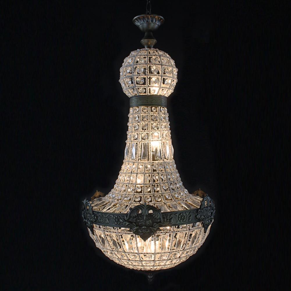 Retro Francês império igreja estilo lustre de cristal lâmpada lustre de LED grande oval do vintage luzes para Hotel sala de estar E14