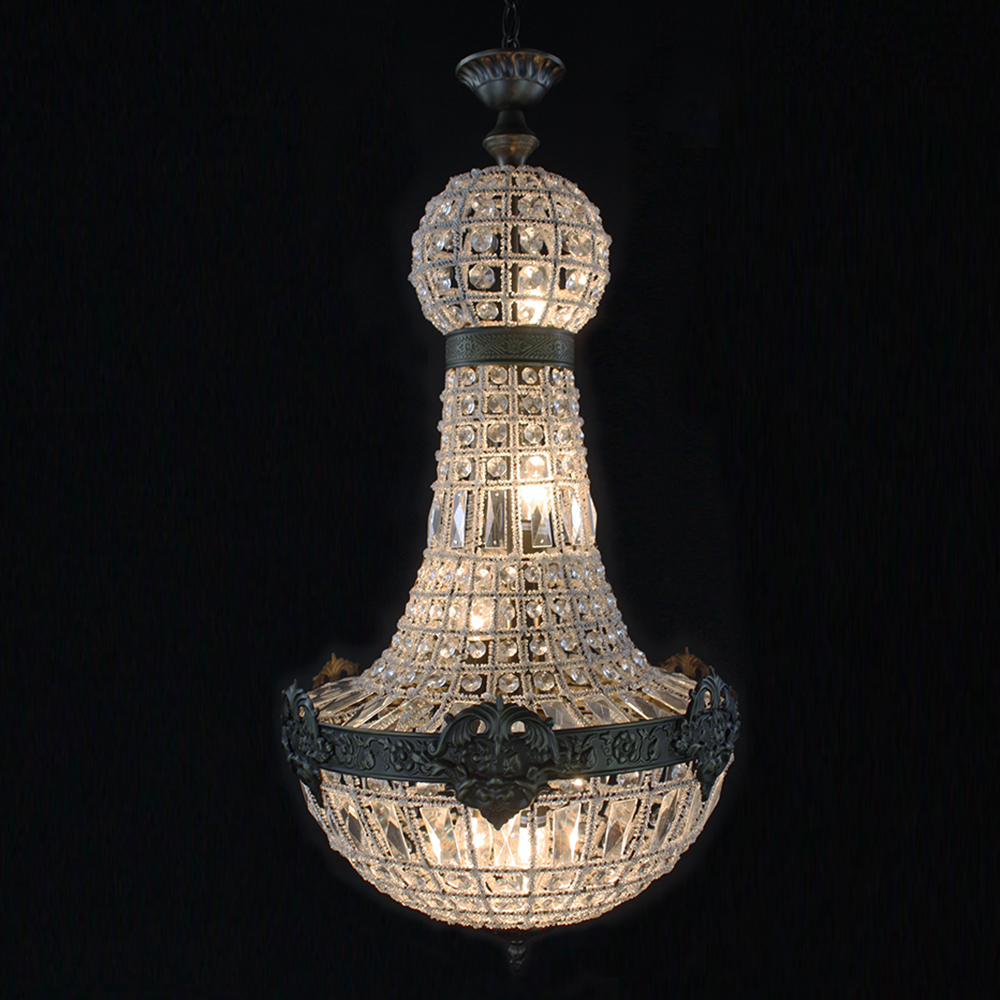 Retro French empire church style crystal chandeliers big E14 LED oval vintage chandelier modern lamp light for Hotel Living room