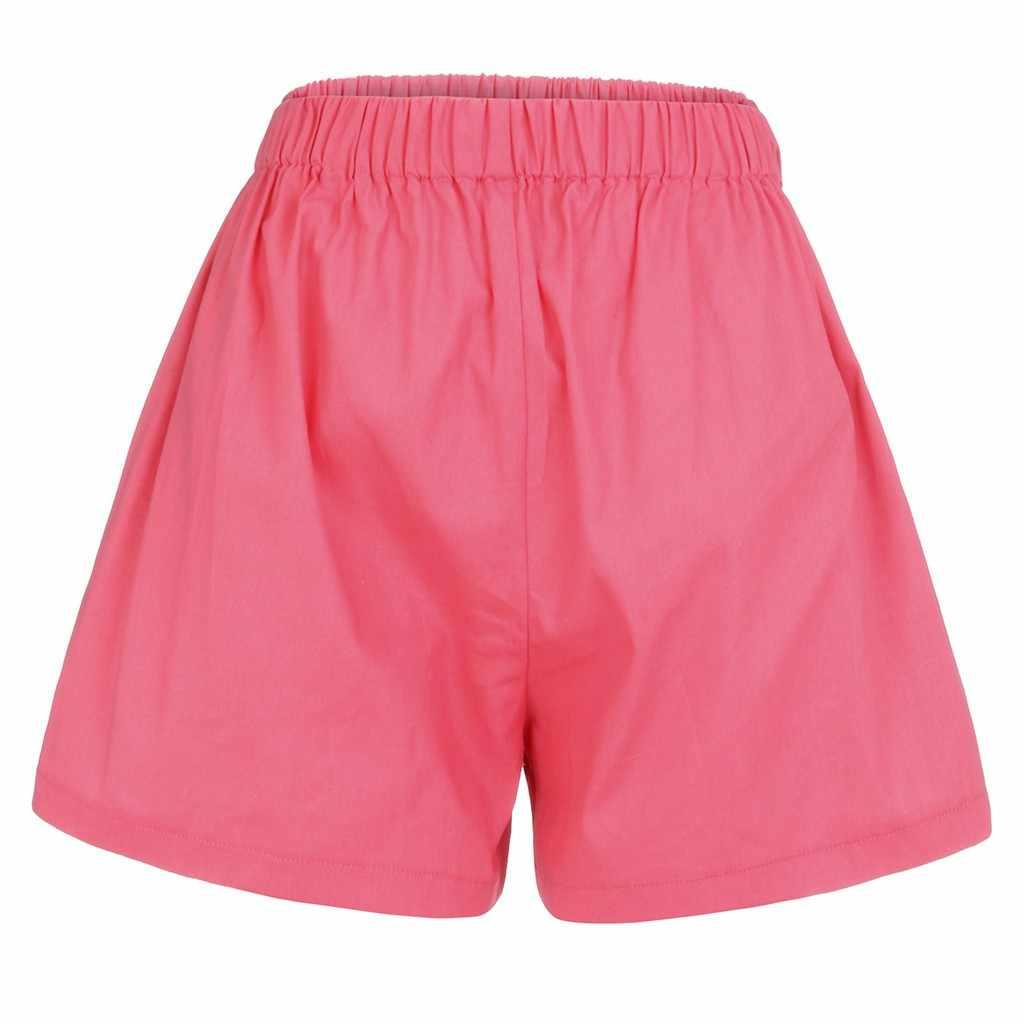 JAYCOSIN 2019 новые летние женские шорты большого размера розовые свободные модные туника с высокой талией Твердые Карманы эластичные шорты May1029