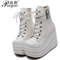 Size 35 42 Botas Mujer Plataforma 2018 Winter Womens Boots Punk Style White Wedge High Heel Boots Lace Up Wedge Platform Boots