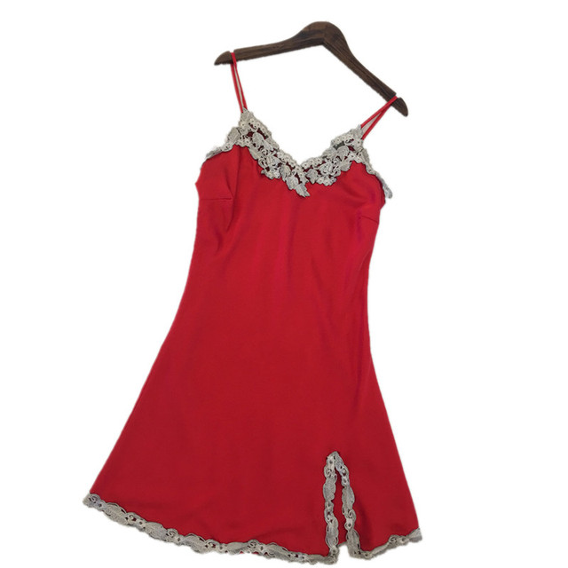 Sexy Women Nightgowns Free Shipping 2017 Silk Nightwear For Female Tempatation Mini Skirts Suspenders Sleepdress Nighties Hot