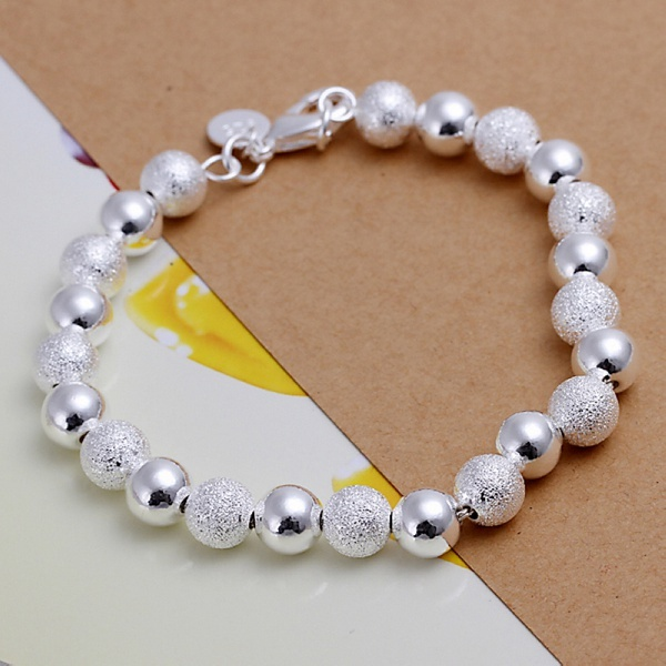 Bạc mạ 925 tinh tế cát Hạt vòng đeo tay thời trang quyến rũ cưới đơn giản mô hình Dễ Thương phụ nữ phụ nữ món quà sinh nhật H084