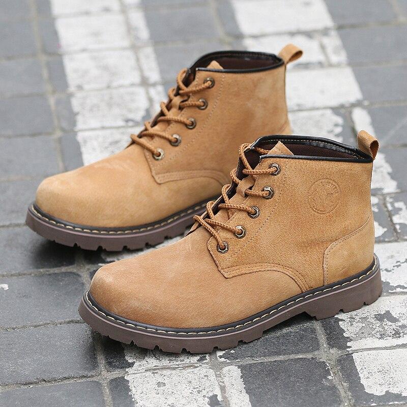 Chaussures de sécurité pour hommes respirant daim Martin bottes hommes tendance britannique outillage chaussures en caoutchouc semelle extérieure hommes Vintage bottes décontracté