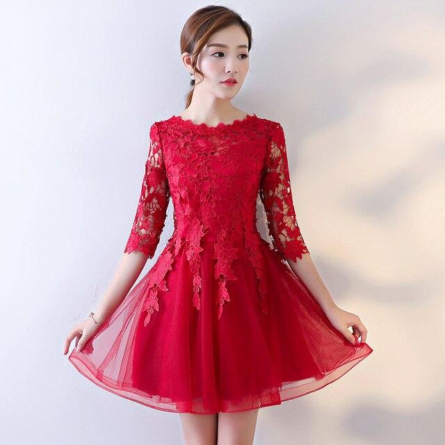 c3808c0ecb7 Elegant Women Floral Mesh Dress Chinese Vintage RED Bride Wedding Party  Cheongsam Summer Half Sleeve Mini Qipao Size S-3XL